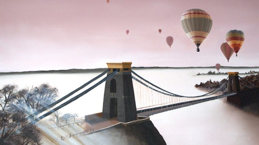 A striking painting from Andrew Bill of colourful balloons and the Clifton suspension bridge