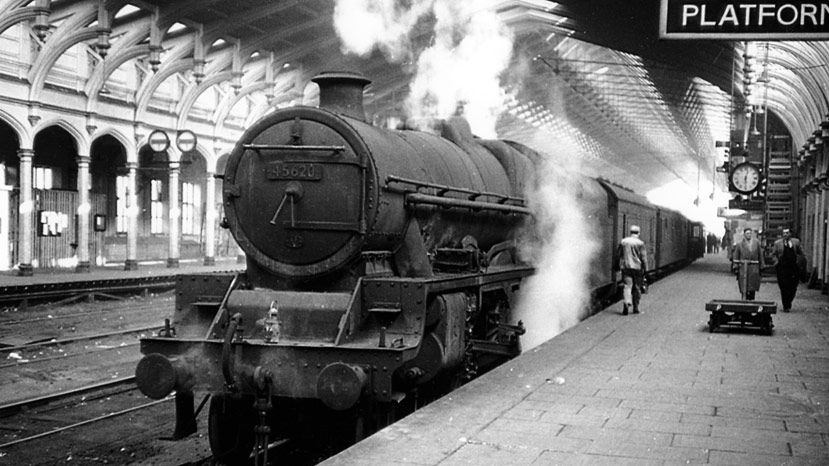 6P 45620 stands on platform 13 on 17 February 1963 in Bristol Temple Meads Old Station having worked down the 0732 from Derby